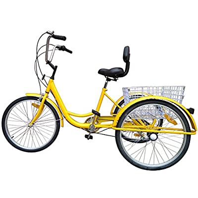 MOPHOTO 24 Inch Adult Tricycle 6/7 Speed Shimano Derailleur 3 Wheel Trike Cruise Bike Cruise Cargo Bike with Large Basket and Maintenance Tools