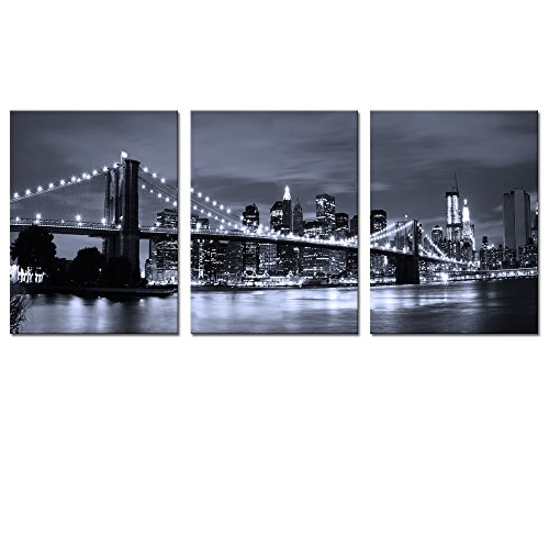 Visual Art Decor Landscape Canvas Prints Black and White New York Cityscape Art Brooklyn Bridge Canvas Prints Living Room Wall Decor Art (01 Brookly Bridge)