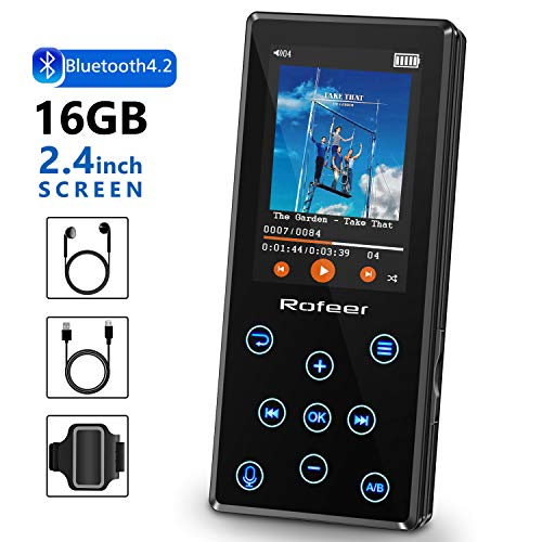MP3 Player, 16GB MP3 Player with Bluetooth 4.2 HiFi Lossless Sound Portable Digital Music Player FM Radio Voice Recorder E-Book 2.4'' LCD, Support up to 128GB with Earphone & Armband