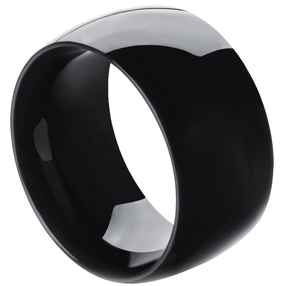 MENSO Men,Women's Wide 11mm Stainless Steel Ring Band Biker Fashion Black Classic Wedding Highly Polished Size 10 by MENSO (Image #3)