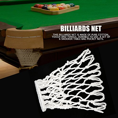 Dilwe 6Pcs Billiards Table Nets Pool Mesh Pocket Bag Pool Snooker Table Cotton Heavy Bags Nets by Dilwe (Image #1)
