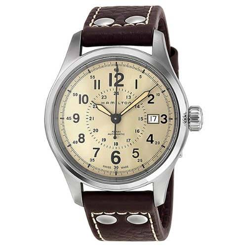 Hamilton Men's H70595523 Khaki Field Analog Swiss Automatic Brown Leather Watch