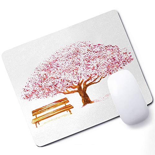 Nature Gaming Mouse pad Watercolor Blooming Cherry Tree in The Park with Wooden Bench Floral Artwork Print Support Mouse pad Pink Brown 10x12 Inch (250mmX300mmX3mm) ()