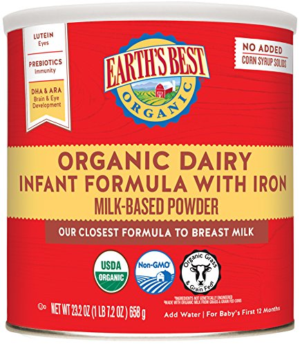 Earth's Best Organic Infant Powder Formula with Iron, Omega-3 DHA & Omega-6 ARA 23.2 Ounce (Packaging May Vary) Newborn Baby Formula