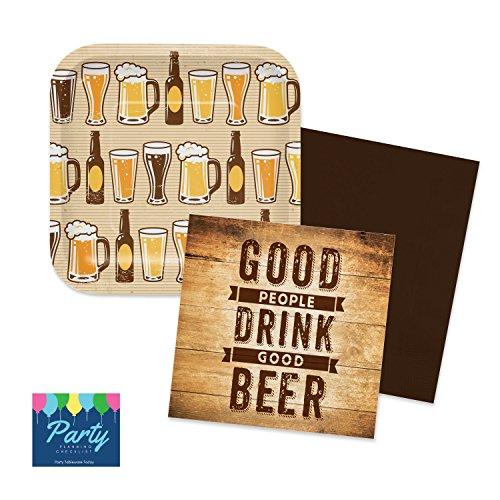 Beer Tasting Kit - Tableware for 16 - Napkins, Plates (Beer Tasting Gift)