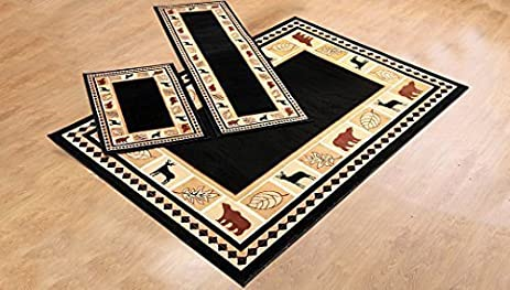 RUGS HOME Furnishmyplace Rustic Lodge Cabin Lodge Carpet Area Rug, Wildlife  Bear Moose, Black