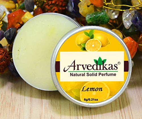 Arvedikas Lemon Natural Solid Perfume Beeswax/Mini Jar/Floral Fragrance/Lemon Perfume/Scented Balm/Skin Friendly/Alcohol Free/Body Musk/Body Parfum/Gift for Her / (6gm each - 0.21oz)