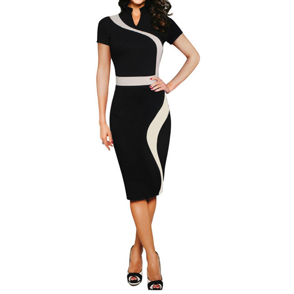Eiffel Women's Illusion Color Block Contrast Patchwork Office Work Business Pencil Dress Black