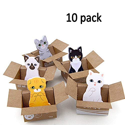 Cat in A Box Sticky Notes, Cute Self-Stick Removable Memo Notes Index Tabs Page Markers for Office School Reading (10 Pack)