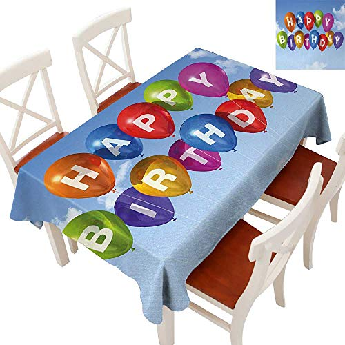 Rectangle Tablecloth Washable Polyester - Great for Buffet Table, Parties, Holiday Dinner, Wedding & More Colored Celebration Balloons with Letters in the Clear Sky White Clouds Happiness Multicolor