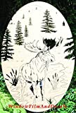 Moose Scene Moose Etched Window Decal Vinyl Glass Cling - 8'' x 12'' - White with Clear Design Elements