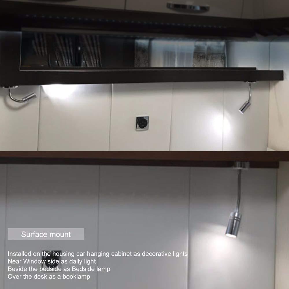 MASO Touch Switch Adjustable LED Reading Light 12//24V Wall Spot Light Boat RV Camper Van Caravan Interior Light