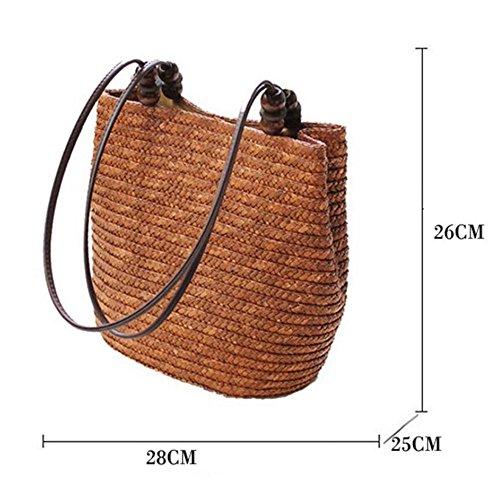 Meaeo Big Women Fashion Summer Straw Bag Bolsos Bag Shoulder Tote Bags Bags Stripes Beach tPIrIqw