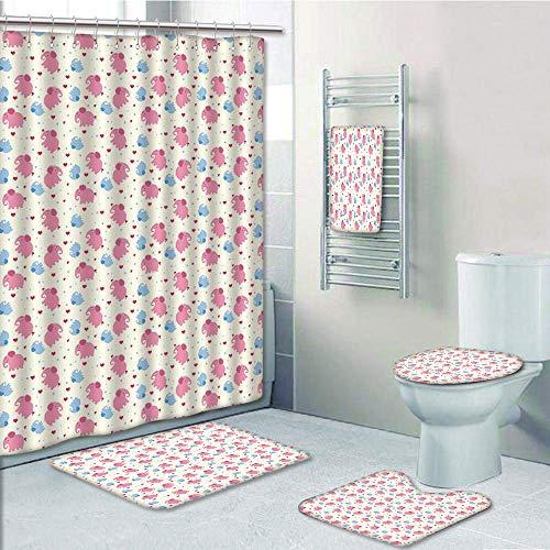Bathroom 5 Piece Set shower curtain 3d print Customized,Elephant,Cheerful Cute Kids Pattern with Red Hearts and Blue Dots Cartoon Style Lovely Zoo,Multicolor,Bath Mat,Bathroom Carpet Rug,Non-Slip,Bath -