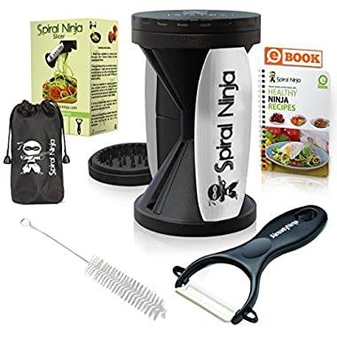 Spiral Ninja Vegetable Spiralizer Bundle - Zoodle Slicer - Zucchini Veggie Spaghetti Pasta Noodle Maker - With Ceramic Peeler