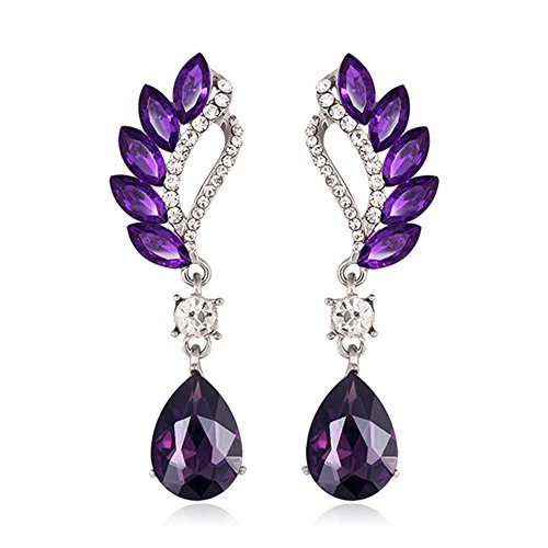 Glass Vintage Earring (Danbihuabi Fashion Crystal Rhinestone Glass Drop Earring Jewelry(red,blue,purple,green,white) (Purple))