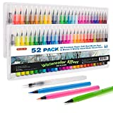 Shuttle Art 52 Pack Real Watercolor Brush Pens, 50 Colors Watercolor Brush Markers with 2 Water Brush Pen,Soft Flexible Tip Perfect for Adult Coloring Books, Manga, Comic, Calligraphy