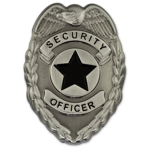 Security Officer Badge Lapel Pin- Antique Silver