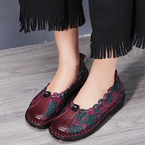 Zapatos Office zapatillas Mocasines transpirable XUE Party para cordones Primavera Zapatos para nacional Estilo Cuero mujer Tamaño caminar sin A otoño noche para 35 conducir Zapatos Color A y y YHa8AMqxw