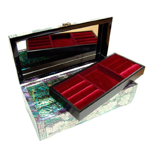 Mother of Pearl Red Purple Pink Peony Flower Design Lacquered Wooden Mirrored Lock Key Jewelry Trinket Keepsake Treasure Box Case Chest Organizer by Antique Alive Jewelry Box (Image #1)