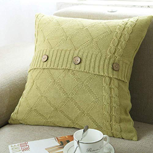 Cotton Knitted Decorative Pillow Case Cushion Cover Cable Knitting