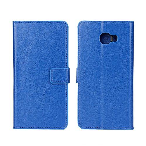 Galaxy C7 Funda,COOLKE Retro PU Leather Wallet With Card Pouch Stand de protección Funda Carcasa Cuero Tapa Case Cover para Samsung Galaxy C7 - Rosa Azul