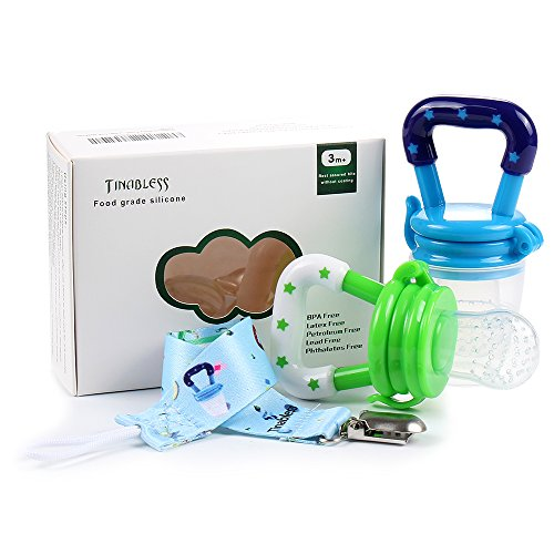 Tinabless Baby Fresh Food Feeder Pacifier - 2Pcs Silicone Infant Baby Teething Toys, Toddlers&Kids&Infant Fruit Teething Pacifier with Clip for Boys L (L) (Feeder Bottle Food Baby Sassy)