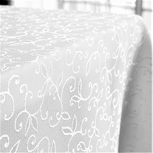 Stain Resistant Turkish White Tablecloth Polyester Table Linen, Rectangular, Square, Round, Washes Easily, Non Iron - Thanksgiving, Christmas, Dinner, Wedding, Parties (Square Topper 40