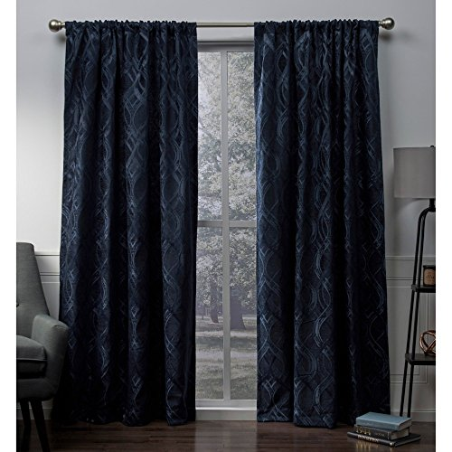 Exclusive Home Elena Wave Chenille Rod Pocket Curtain Panel Pair, Indigo, 52x108