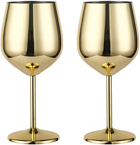 WElinks Stainless Steel Red Wine Glass Metal Stemmed Wine Glass Shatter Proof White Red Wine Cocktail Glasses Unbreakable BPA Free Goblets Juice Drink Champagne Goblet Party Barware Kitchen Tools