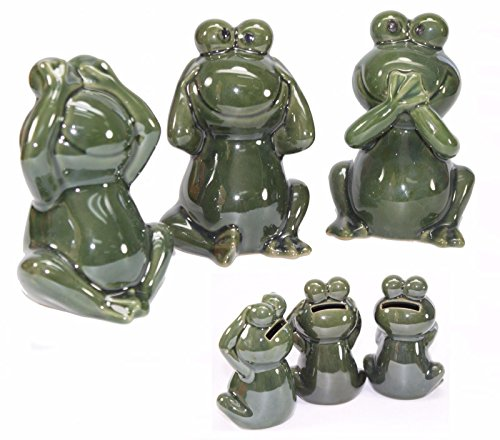 Cute Frog Bank Figurine ~ See No Evil ~ Hear No Evil ~ Speak