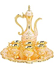 Wine Pot Kit, European Style Russian Style Home Art Crafts Metal Wine Drinking Cups Household Ornaments for Dining Table for Kitchen Bedroom for Wedding Gift(White Powder)