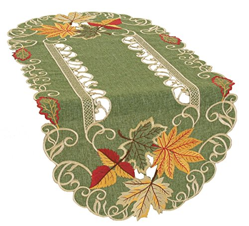 Xia Home Fashions Delicate Leaves Embroidered Cutwork Fall Table Runner, 16 by 34-Inch (Fall Orange Runner)