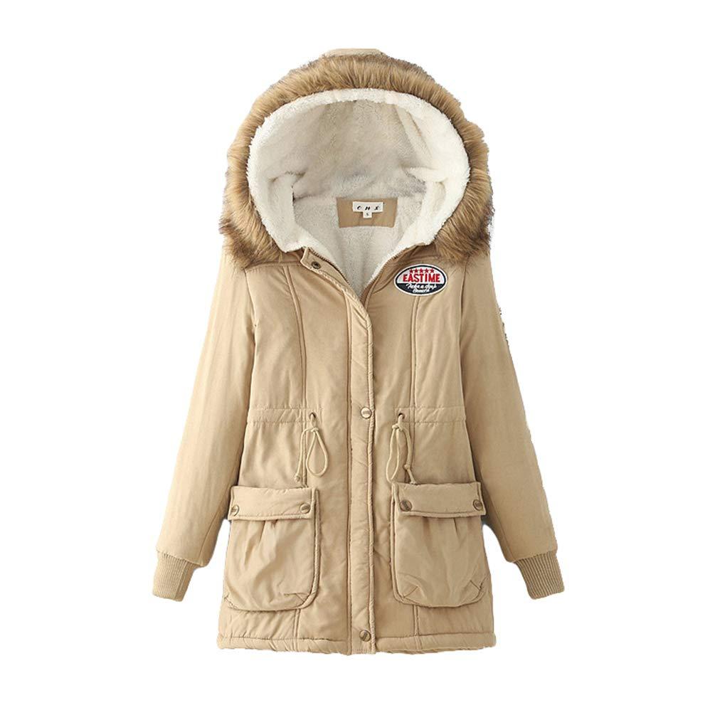 Baijiaye Womens Winter Parkas Faux Fur Lined Coats Fur Collar Warm Fleece Lining Overcoats Drawstring Hooded Jackets