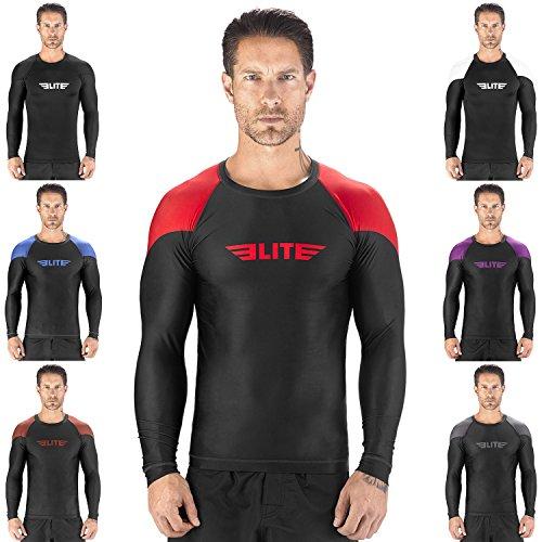Elite Sports NEW ITEM Full Long Sleeve Compression, MMA, BJJ, No-Gi, Cross Training Rash Guard (Red, Large)