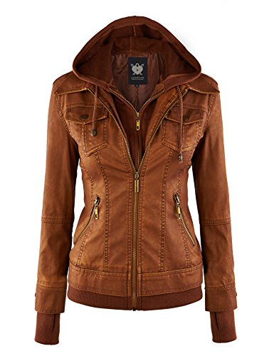- Lock and Love LL WJC664 Womens Faux Leather Jacket with Hoodie XL Camel
