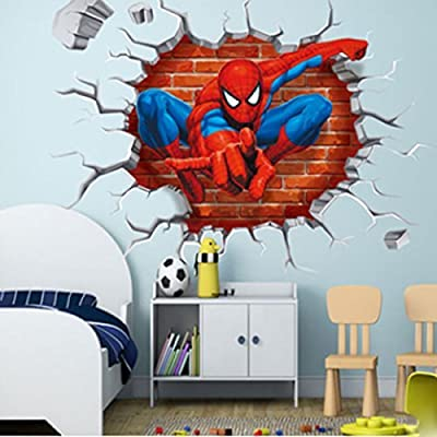 DIY Removable Spiderman 3D Cracked Children Themed Art Boy Room Wall Sticker Home Decal, Peel and Stick Wall Decal for Kids Room Wall Decor: Home Improvement