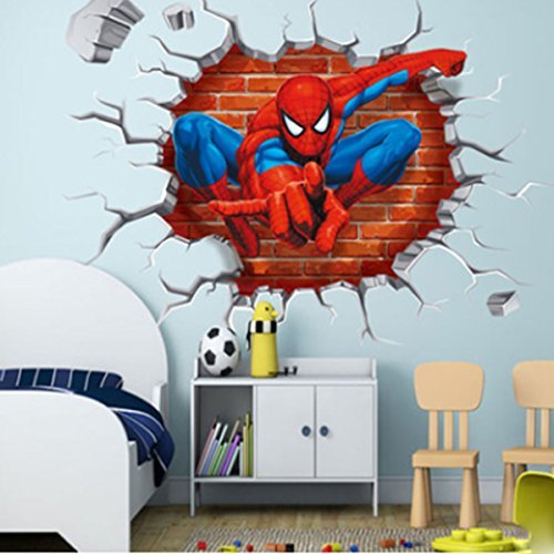 Jiahui Brand DIY Removable Spiderman 3D Cracked Children Themed Art Boy Room Wall Sticker Home Decal, Peel and Stick Wall Decal for Kids Room Wall Decor by Jiahui Brand (Image #5)