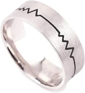 Sterling Silver band heartbeat black and heart line size 13