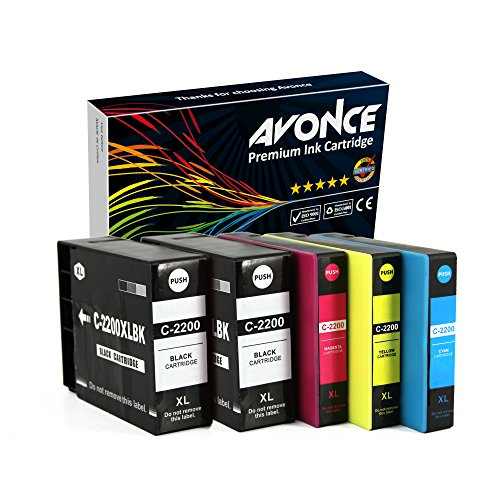 Avonce 5 pack Compatible Ink Cartridges for pgi2200xl pgi-2200 pgi-2200xl for Canon Maxify MB5020 iB4120 MB5320 MB5420 MB5120 iB4020 (2200 Compatible Magenta Ink)
