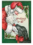"""Faithful Companion"" 28″ X 40″ Santa and Dog Greetins To All House Flag"