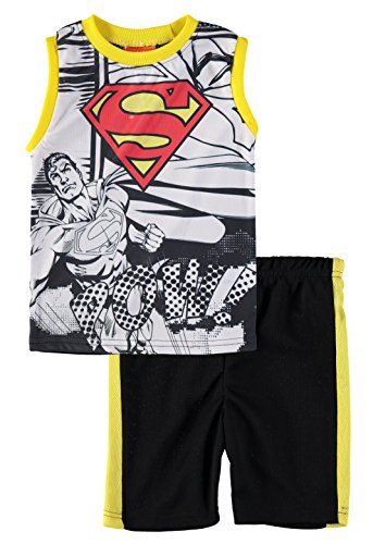 Superhero Boys' Batman Superman Spiderman Tank Top Short Set (Superman/White/Yellow, 3T) ()