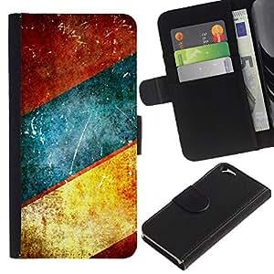 KLONGSHOP // Tirón de la caja Cartera de cuero con ranuras para tarjetas - Líneas azul del trullo Brown rústico - Apple Iphone 6 //