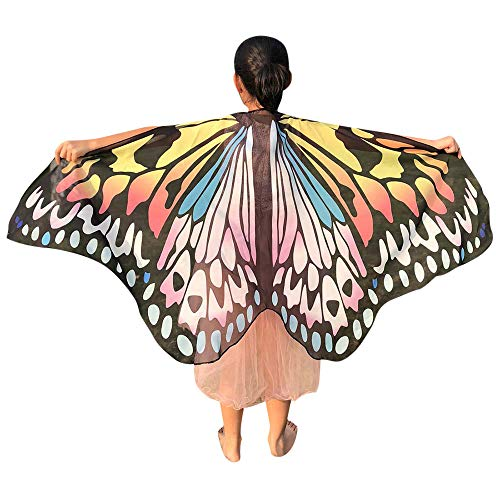 iDWZA Children Kids Butterfly Wings Shawl Scarves Wrap Capes Costume Accessory(14670cm,Yellow )]()