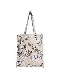 Caixia Women's Cotton Daisy Floral Print Canvas Tote Shopping Bag Light Brown