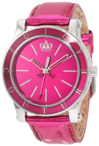 Pink Juicy Couture Leather (Juicy Couture Women's 'HRH' Quartz Stainless Steel and Leather Casual Watch, Color:Pink (Model: 1900839))