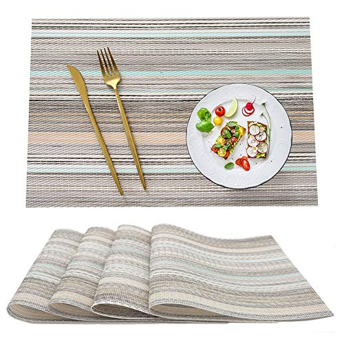 SUNANASKY Placemats, Heat Resistant Placemats Stain Resistant Anti-Skid Washable PVC Table Mats Woven Vinyl Dining Kitchen Placemats, Set of 4 (Beige)