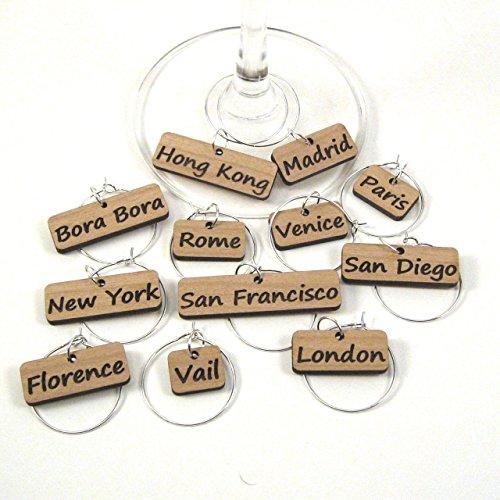 Wine Glass Charms - Travel Destinations