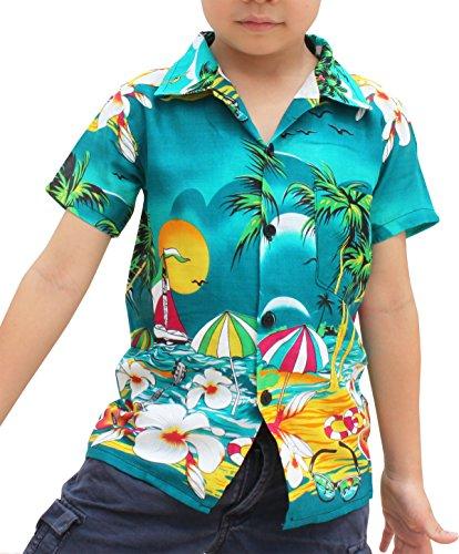RaanPahMuang Childrens Hawaiian Shirt In Summer Printed Rayon Seaside Beach Fun, 6-8 Years, Pine - Six Pines