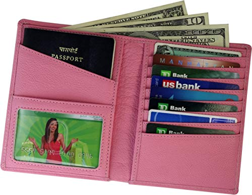 (AurDo RFID Blocking Real Leather Passport Holder Cover Case & Travel Wallet for Men & Women (Pink))